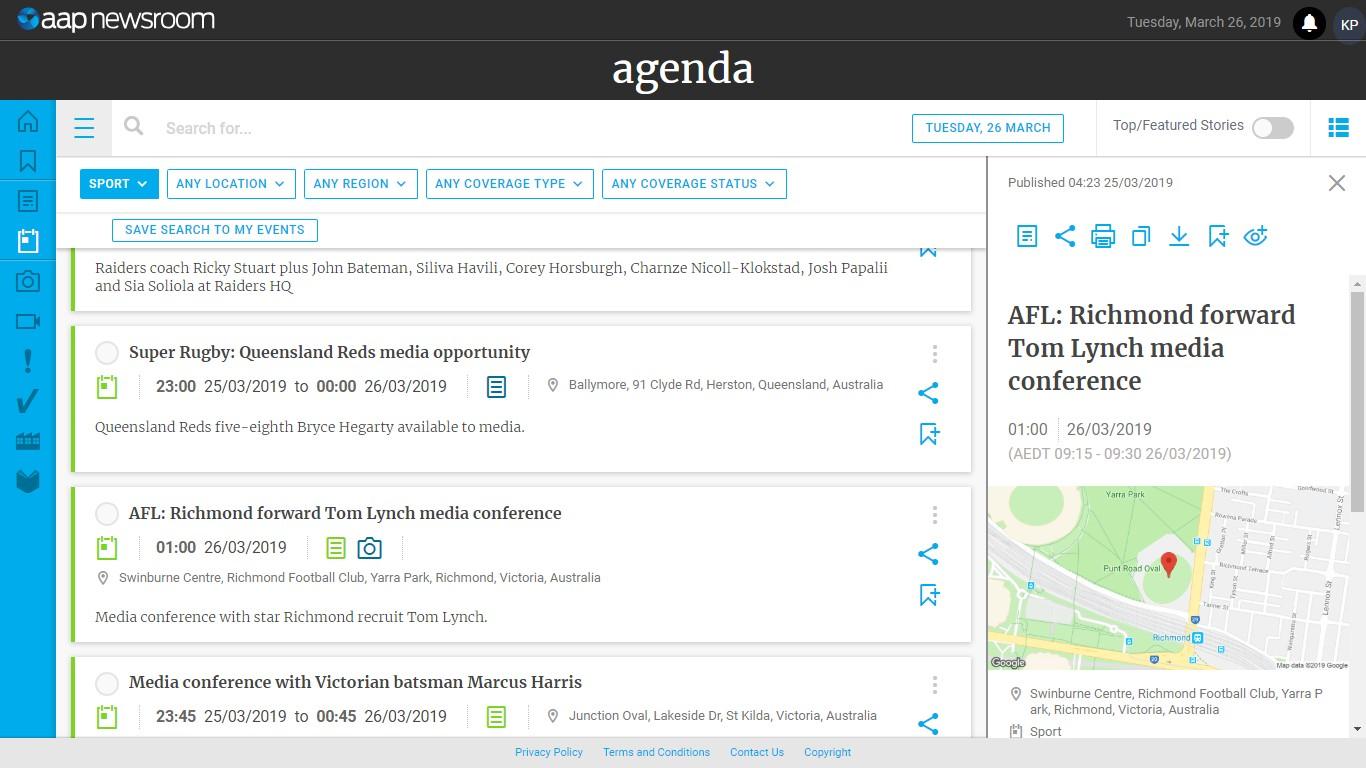 Screenshot from Agenda's client portal. (Photo Credit: AAP)